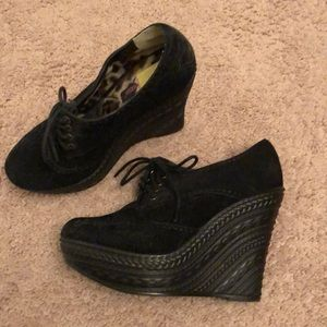 Black Swede material high shoes 6 1/2